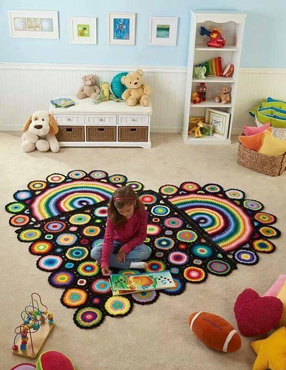 tapetes de crochê para quarto coração