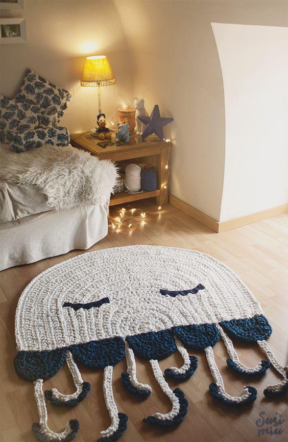tapetes de crochê para quarto polvo