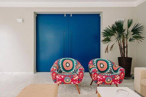 poltronas decorativas estampadas para sala