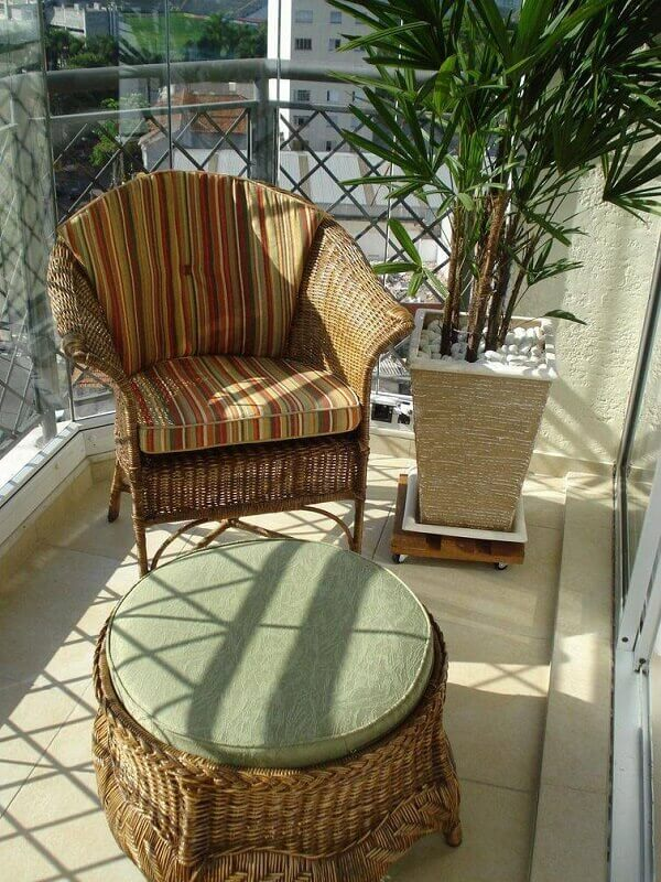 poltronas decorativas de vime para varanda