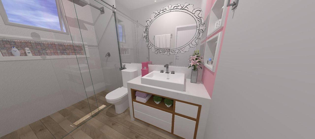 O armário de banheiro com detalhes em madeira deixa o ambiente mais aconchegante