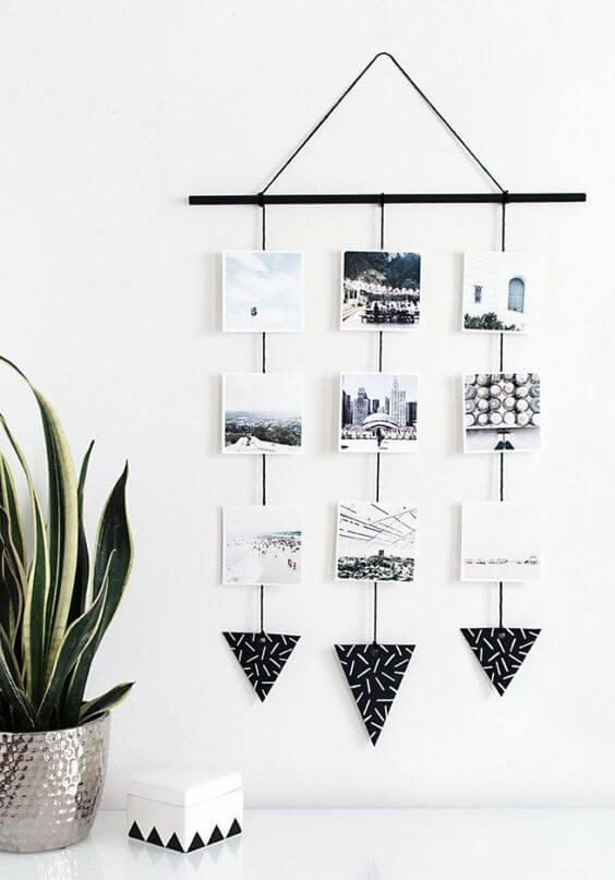 faça você mesmo decoração com barbante e fotos