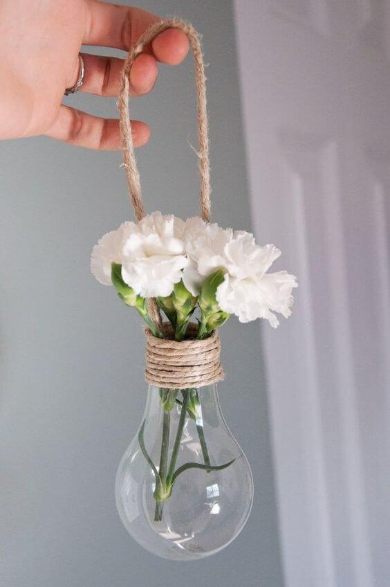 faça você mesmo mini vaso com lâmpada