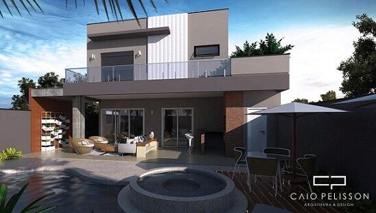 Casa com telhado embutido Projeto de Arquiteto Caio Pelisson