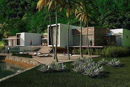 Casa térrea ampla com telhado embutido Projeto de Mascarenhas Arquitetos