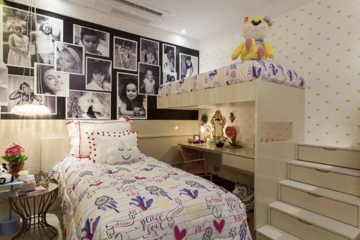 Escrivaninha para quarto embaixo da cama suspensa Projeto de Casa Cor Bahia 2017