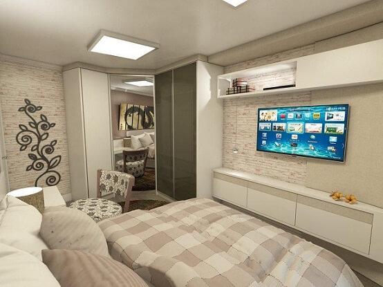 Guarda-roupa planejado em quarto de casal planejado Projeto de Ednilson Hin
