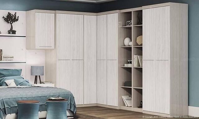 Quarto de casal planejado com armário com nichos Projeto de Lojas KD
