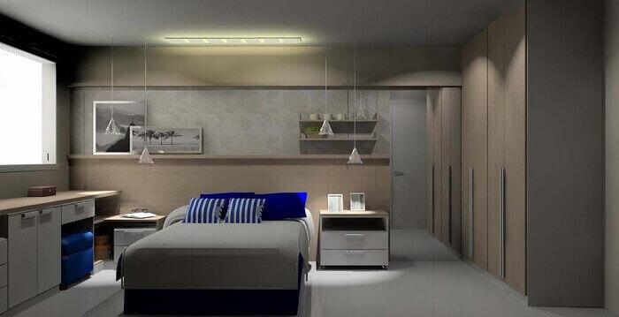 Quarto de casal planejado com criados-mudos ao lado da cama