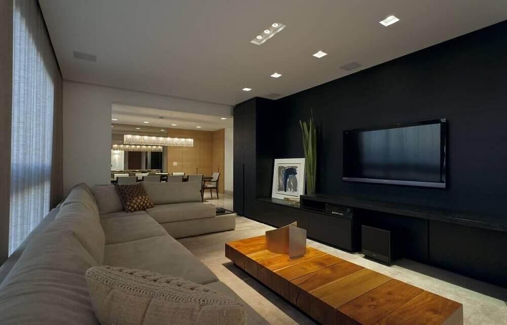 Decoração de sala com parede preta
