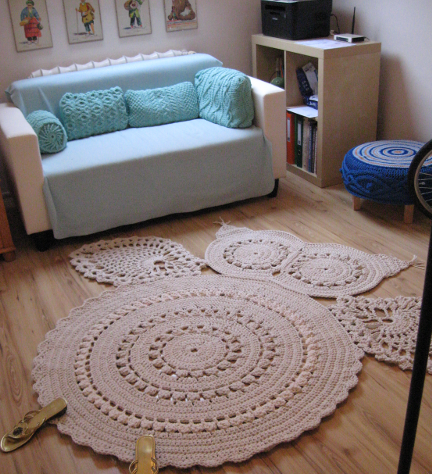 tapetes de barbante de desenho coruja branca grande