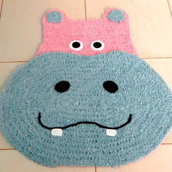 tapetes de barbante de desenho hipopotamo rosa