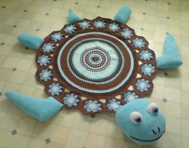 tapetes de barbante de desenho infantil de tartaruga marinha