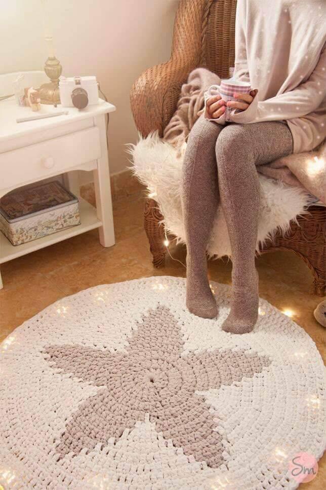 tapetes de barbante em formato de estrela para quarto
