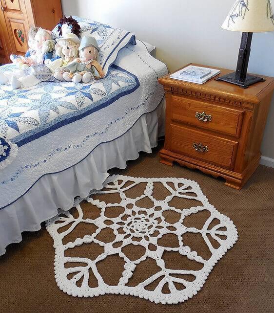 tapetes de barbante em formato de floco de neve para quarto