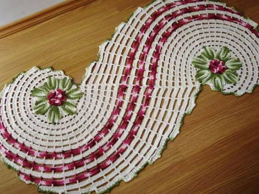 tapetes de barbante em s com flores