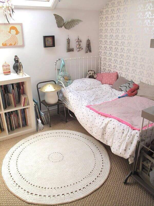 tapetes de barbante para quarto feminino