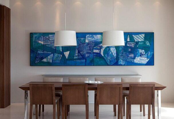 Quadros para sala azul grande em sala discreta Projeto de Patricia Martinez