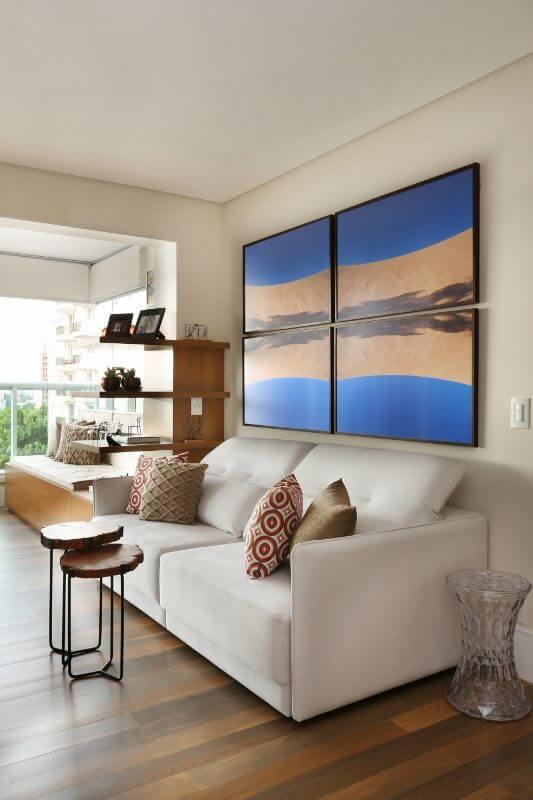 Quadros para sala formando uma paisagem Projeto de Renata Cafaro
