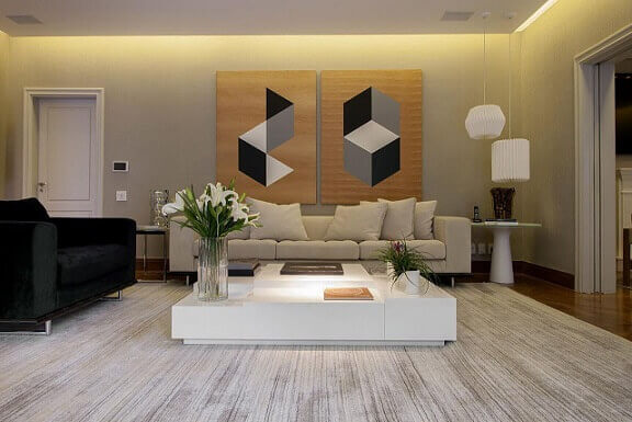 Quadros para sala grandes geométricos Projeto de Deborah Basso