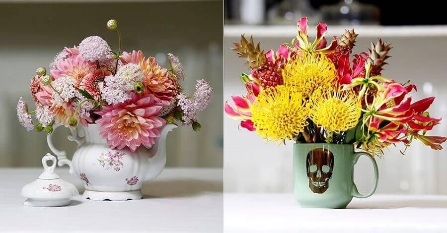 enfeites para cozinhas com bules e flores