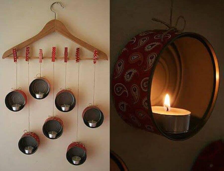 enfeites para cozinhas lata de sardinha e velas