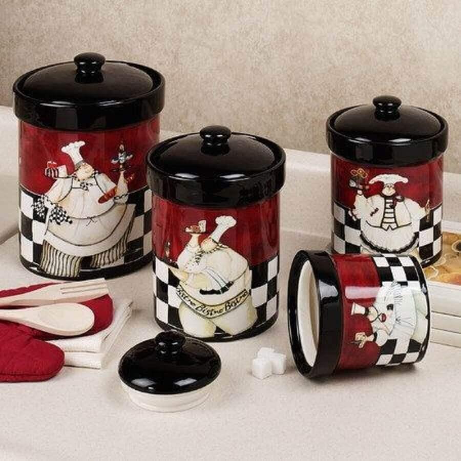 potes divertidos para decoração da cozinha
