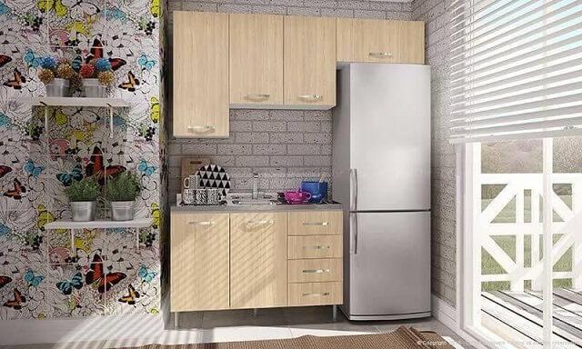 Cozinha colorida com papel de parede de borboletas Projeto de Lojas KD