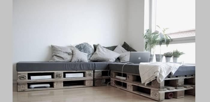 Sofá de Palete de canto na sala