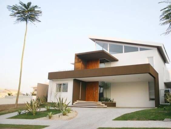 Fachadas modernas branco e marrom
