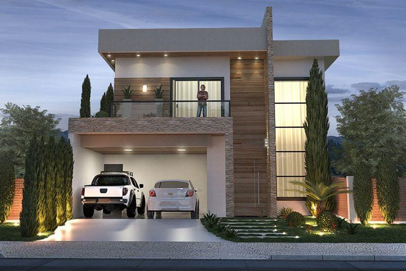Fachadas modernas com madeira e garagem
