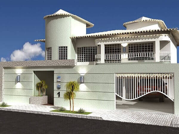 Fachadas modernas com muros bonitos brancos