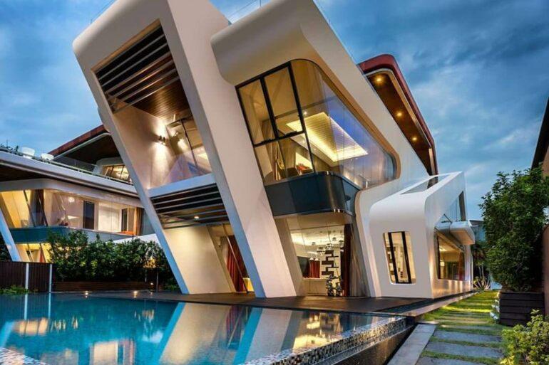 Fachadas modernas com piscina - Via: Pinterest