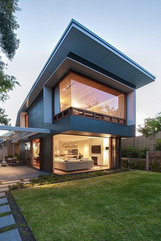 Fachadas modernas com janela grande