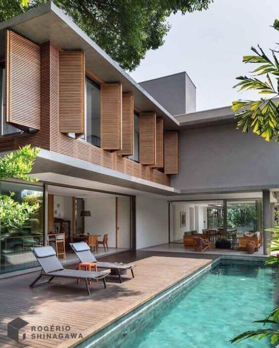 Fachadas modernas com piscina