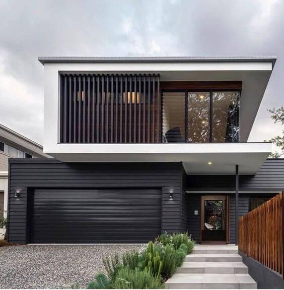 Fachadas modernas branco com portão preto