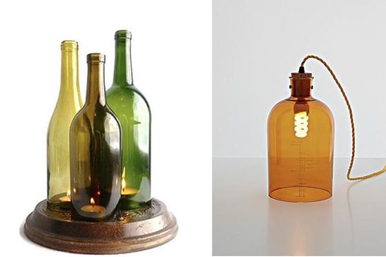 garrafas com vela Decoração com Reciclagem