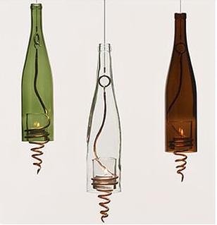 garrafas de luminária Decoração com Reciclagem