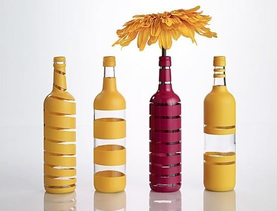 garrafas pintadas Decoração com Reciclagem