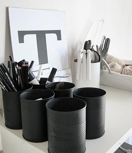 latas como porta lápis Decoração com Reciclagem