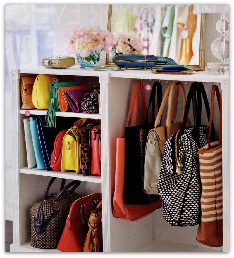 organização bolsas no closet pequeno