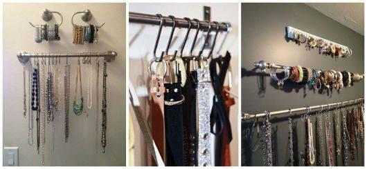 organização de cintos e colares closet pequeno