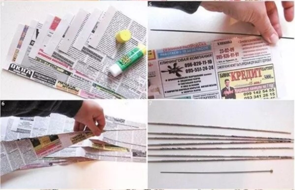 Artesanato com jornal Organizador passo 1