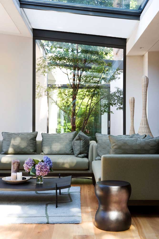 Jardim de inverno na sala atrás do sofá