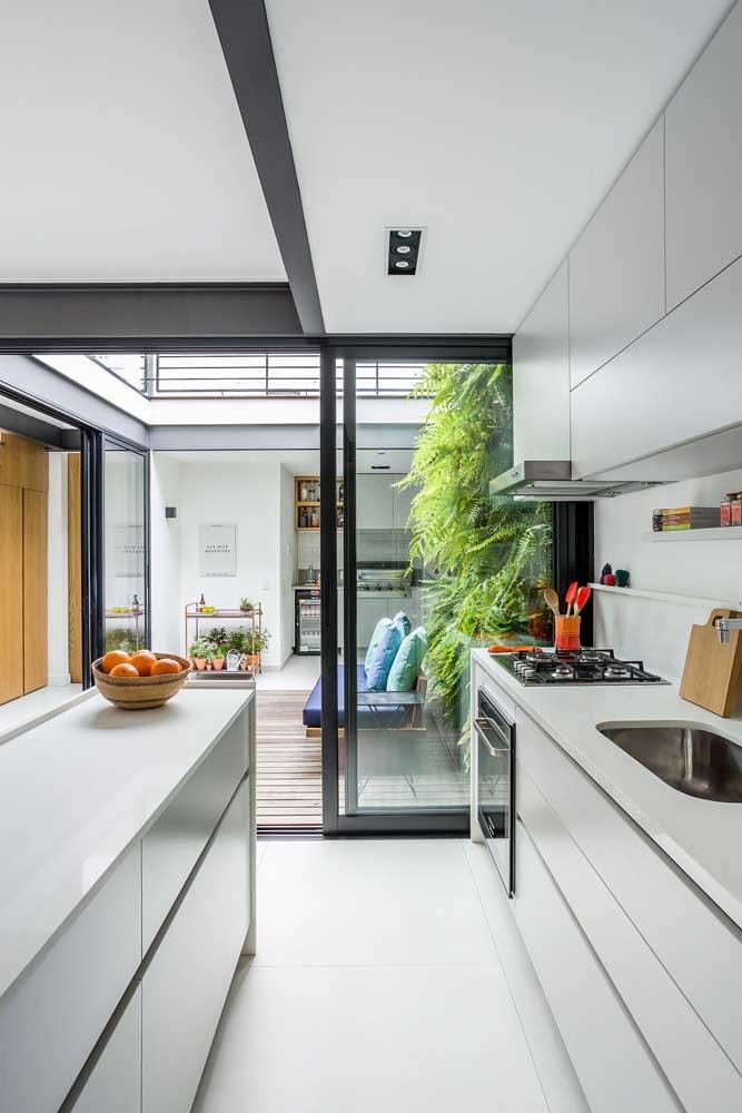 Jardim de inverno na sala com cozinha integrada
