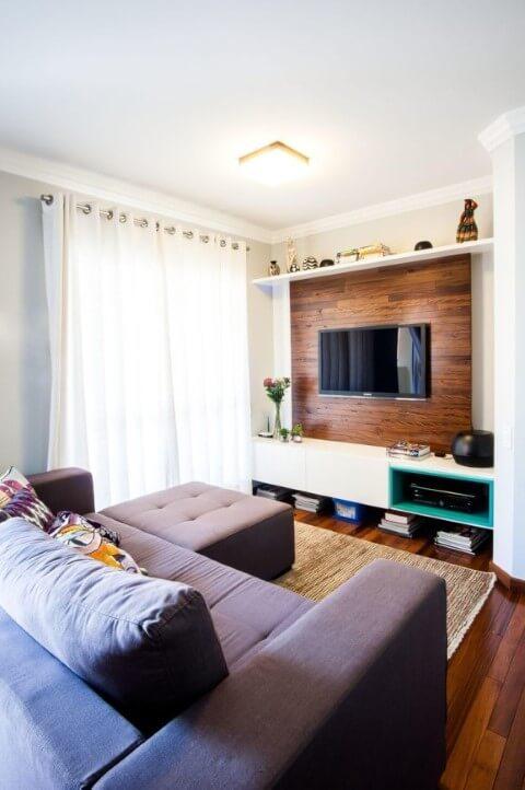 Painel para sala de madeira em sala moderna