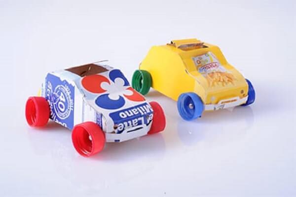 Artesanato com caixa de leite forma lindos carrinhos