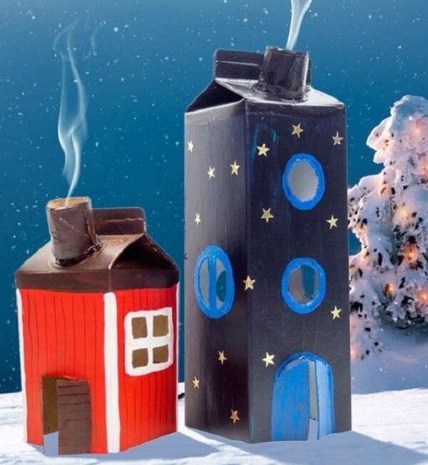 Artesanato com caixa de leite imita a estrutura de uma casa e um prédio