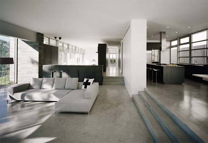 16 Sala de estar com piso de cimento queimado