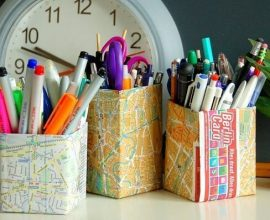 Artesanato com caixa de leite usada como porta lápis